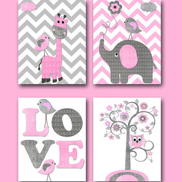 Pink Grey Baby Girl Wall Decor Elephant Giraffe Wall Decor Canvas Nursery Kids Wall Art Kids Art Children Wall Art Baby Room Decor set of 4