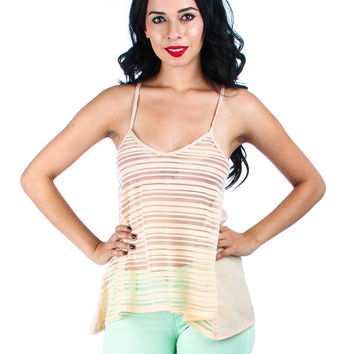 PEACH CHIFFON STRIPED SPLIT BACK TANK TOP