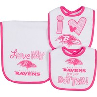 Baltimore Ravens 3-Piece Bib & Burb Cloth Set (Rav Team)