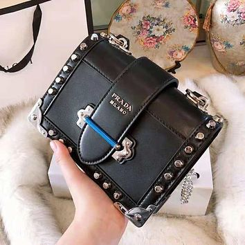 PRADA High Quality Classic Women Leather Shoulder Bag Rivet Crossbody Satchel Black