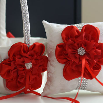 Red White Wedding Pillow Basket Set \ Red Flower Girl Basket and Ring bearer Pillow \ Lace Wedding Pillow Basket Set + Red Flower + Brooch