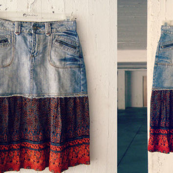 Boho Midi Skirt, Upcycled Denim Blue Orange Layered Summer S M Skirt, Hippie Gypsy Eco Bohemian Clothing, Recycled Jean Refashioned Clothes