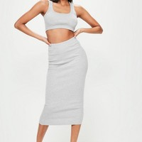 Missguided - Londunn + Missguided Grey Ribbed Jersey Crop Top