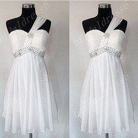 2014 Beads White Strapless One-Shoulder Empired Short Ruffled Bridasmaid Dress,Chiffon Formal Evening Party Prom Dress New Homecoming Dress