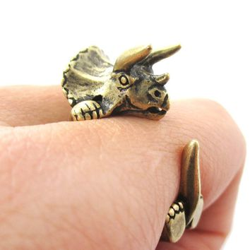 Triceratops Dinosaur Prehistoric Animal Wrap Around Hug Ring in Brass | US Size 4 to 8.5