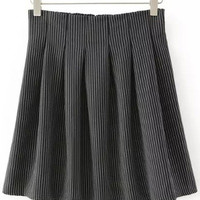 Black Vertical Pinstripe Pleated Skirt