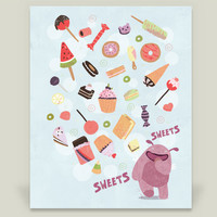 Sweets For My Monster Art Print by judithloske on BoomBoomPrints