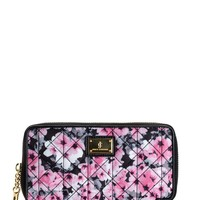Black/Pink Floral Malibu Nylon Zip Wallet by Juicy Couture, O/S