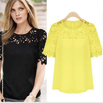 Lace Patchwork Short Sleeves Scoop Hollow Out Chiffon Blouse