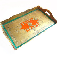 1960s Tole Painted Italian Florentine Tray