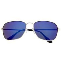 Classic Revo Mirror Lens Aviator Sunglasses Rectangle Sunnies Silver Blue