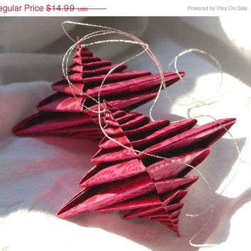 SALE 25% OFF Wedding Decor, Wedding Ornament, Holiday Decor, Pink Paper Ornaments, Origami Ornaments - Two Glossy Pink Spirals