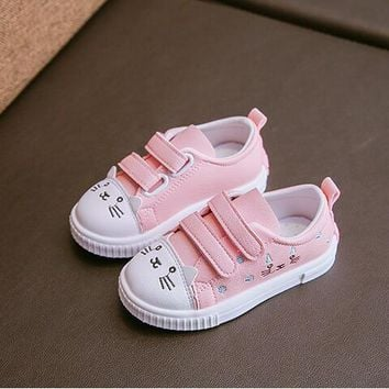 KKABBYII New Hot Girl's Shoes Cartoon Hello Kitty Fashion Design Pink White Princess Sweet Cute Children Kids Single Shoes