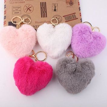 Women Lovely Heart Shaped Pom Poms  Faux Fur Ball  Key Ring / Bag Charm