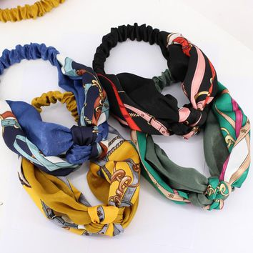 3pcs/lot Chain Floral Print Braided Hair Bands For Girls Twisted Turban Knot Women Head Band Hair Accessories For Adult
