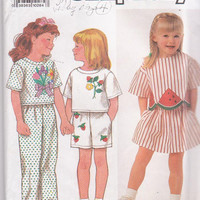Pattern for easy girls summer pullover top, pants, shorts, skirt + iron on applique transfers child size 3 4 5 6 6X Simplicity 9730 UNCUT