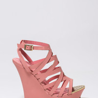 Metallic Head Faux Leather Wedges