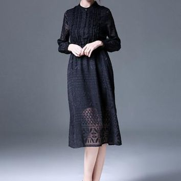 Womens Single-Breasted Turtle Neck Lace Dress (d)