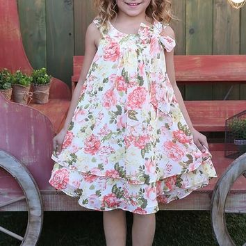 2018 Summer Flower Playful Ivory With Peach Roses Fun Dress