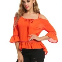 Orange Women Lace Up Cold Shoulder 3/4 Sleeve Ruffles Chiffon Blouse Tops