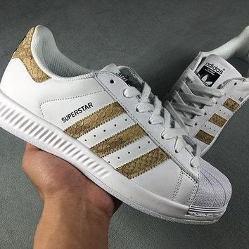 LMFON6GS Adidas Superstar Shell-toe Flats White Python Sneakers Causel Sport Shoes