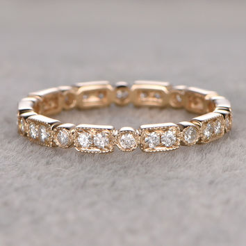 Natural Diamond Wedding Ring,Solid 14K Yellow Gold Full Eternity Milgrain Retro Vintage Fine Stackable Ring