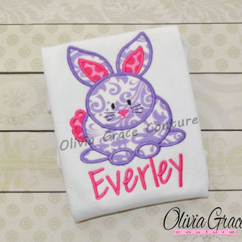 Girls Easter Shirt, Girl's Bunny Shirt, Embroidered Applique Easter Shirt or Bodysuit