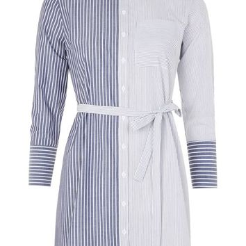 Stripe Wrap Back Shirtdress - Dresses - Clothing