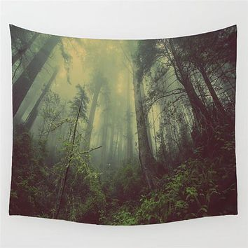 Wanderlust Misty Forest Woodland Wall Tapestry