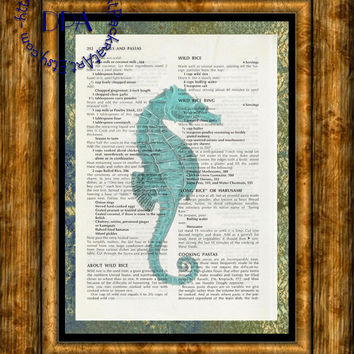 Teal Ocean Seahorse into the Light Glow Art - Vintage Upcycled Cookbook Page Art Print, Ocean life Print
