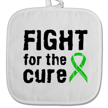 Fight for the Cure - Lime Green Ribbon Lyme Disease White Fabric Pot Holder Hot Pad