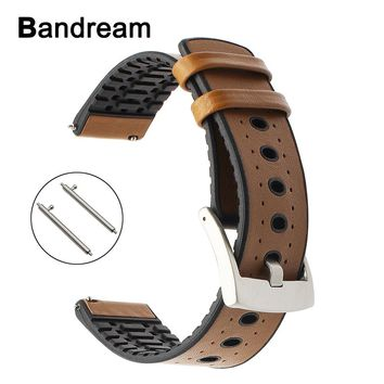 Genuine Leather + Silicone Rubber Watchband 22mm for Tissot Luminox Hamilton Mido Longines Watch Band Quick Release Wrist Strap