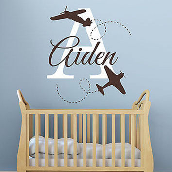 Planes Initial and Name Personalized Vinyl Wall Decal Sticker