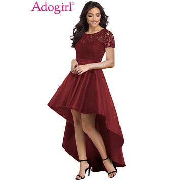 Adogirl 2019 Trendy Lace Bodice Elegant Hi-lo Party Dress Short Sleeve Sheer Back Empire Evening Gown Maxi Women Formal Dresses