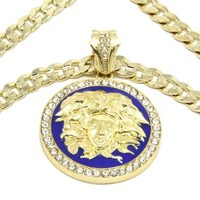 Mens Gold with Blue Medallion Medusa Gold Greek 10mm Cuban Curb Link Chain Pendant Necklace 30 Inch Large