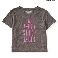 Aeropostale  Womens Eat & Sleep Crop Graphic T-Shirt