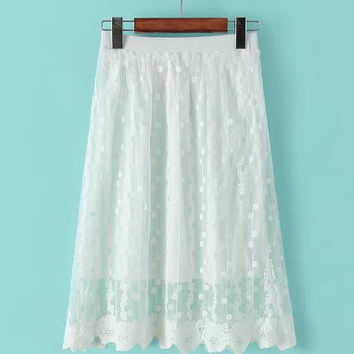 Crochet Cut-Out Lace A-line Pleated Midi Skirt