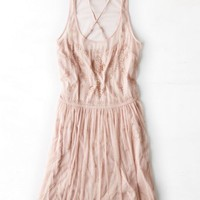 AEO Women's Beaded Tulle Slip Dress (Grey Lilac)