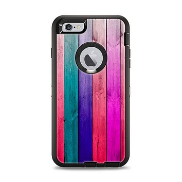 The Vibrant Neon Colored Wood Strips Apple iPhone 6 Plus Otterbox Defender Case Skin Set