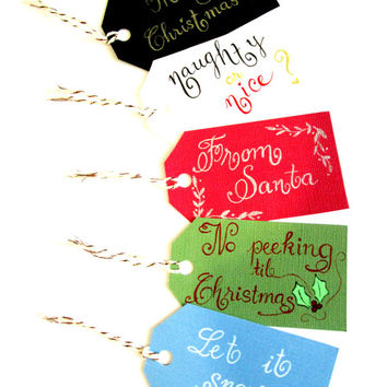 Handwritten Calligraphy Christmas Gift Tags - Package of 5 holiday hand lettered gift tags