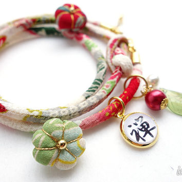 Kimono Bracelet, Necklace - HANA MORI - Japanese chirimen fabric cord, red white green