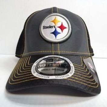 Pittsburgh Steelers Hat New Era 39Thirty NFL Flashed Front Neo 2 Fitted Gray