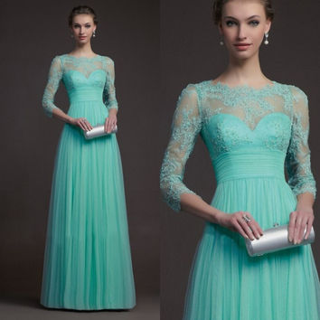 Elegant Long Prom Dresses Three Quarter Sleeve Tulle And Lace A Line Floor Length Evening Party Gown Mint Green Dress