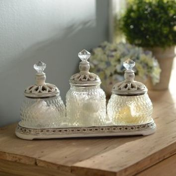 Vintage Ivory Jar Set with Tray | Kirklands