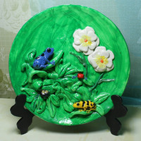 Poison Dart Frog Decorative Plate with easel