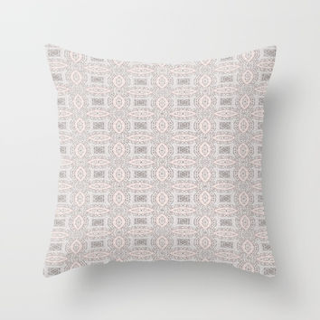 Pink and Grey Soft Pattern Print Throw Pillow by Sheila Wenzel