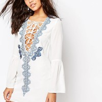 Missguided Long Sleeve Lace Up Embroidered Dress at asos.com