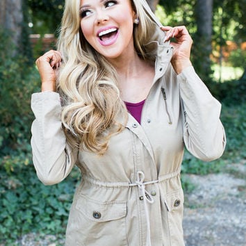 (Cyber Monday) Perfect Military Style Hooded Cinched Jacket Khaki