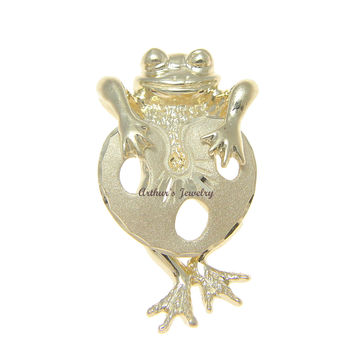 SOLID 14K YELLOW GOLD HAWAIIAN LUCKY HAPPY FROG LOTUS LEAF SLIDE PENDANT 17MM