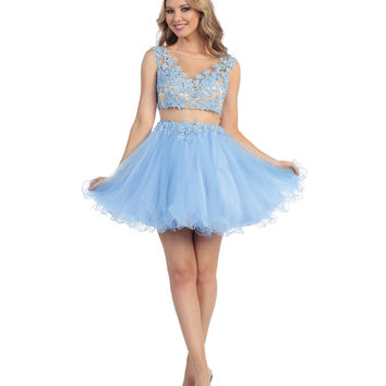 Periwinkle Two Piece Chiffon Illusion Dress 2015 Homecoming Dresses